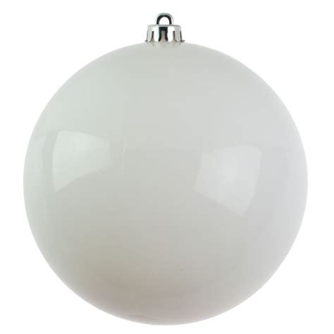 white baubles shiny shatterproof single 200mm baubletimeuk