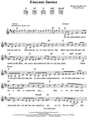 england swings chords roger miller quot england swings quot sheet music download print