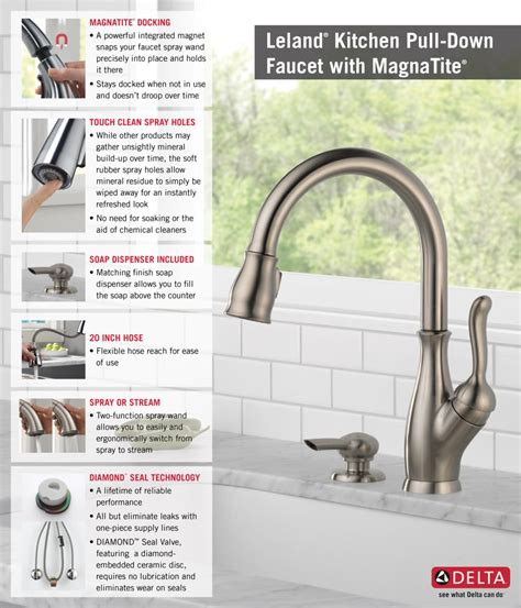 delta leland single handle pull down sprayer kitchen faucet in chrome featuring magnatite delta leland single handle pull down sprayer kitchen