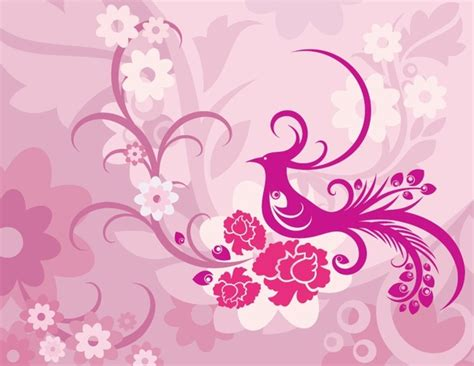 pink wallpaper eps pink background phoenix pattern vector free vector in