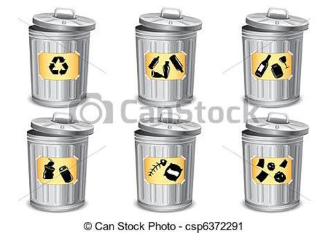 clipart rifiuti clipart vettoriali di bidone differente rifiuti tipo