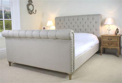 Grey Sleigh Bed New Upholstered Chesterfield Bed 6ft Light Grey Belgium Linen Fabric Ebay