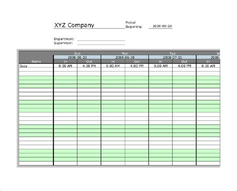 microsoft time card templates 7 printable time card templates doc excel pdf free