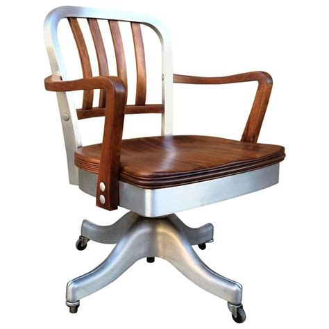 Rolling Armchair by Shaw Walker Rolling Aluminum And Walnut Office Desk