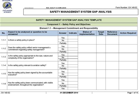 Safety Management System Template exle safety management system gap analysis for