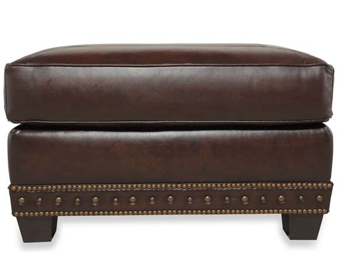 brown ottoman traditional genuine top grain brown leather ottoman ebay