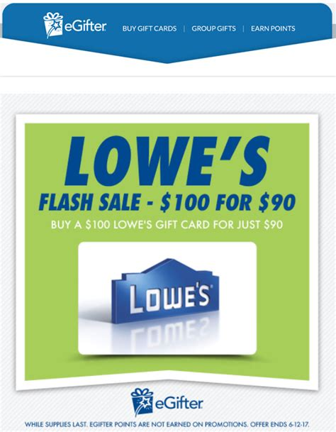 Lowes E Gift Cards - quick deal 100 lowe s egift card for 90 from egifter