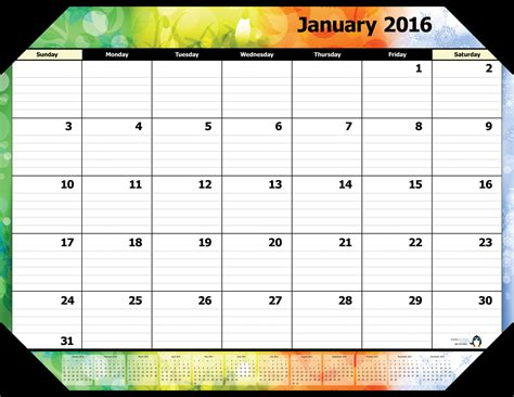 printable january 2016 day planner january 2016 calendar page 2017 printable calendar