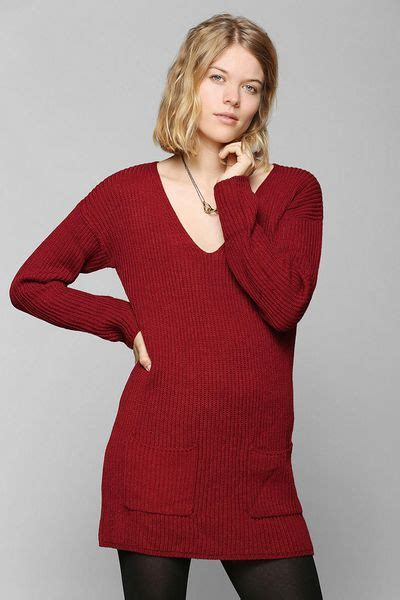 Sweater Surf Urgan 22 outfitters pins and needles patch pocket sweater dress in maroon lyst