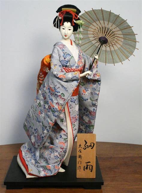 kimono doll design umbrella vintage japanese geisha doll traditional gofun kimono