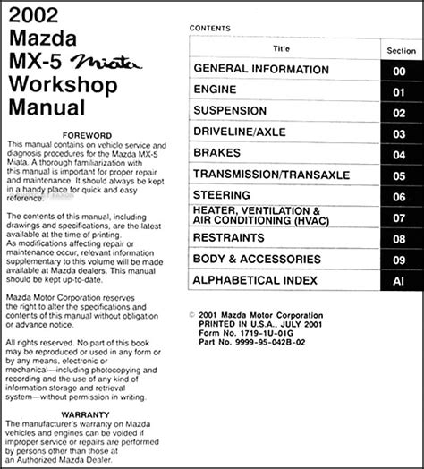manual repair free 2002 mazda mx 5 head up display 2002 mazda mx 5 miata repair shop manual original