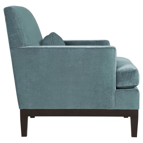 eliza modern classic mocha wood blue velvet arm chair