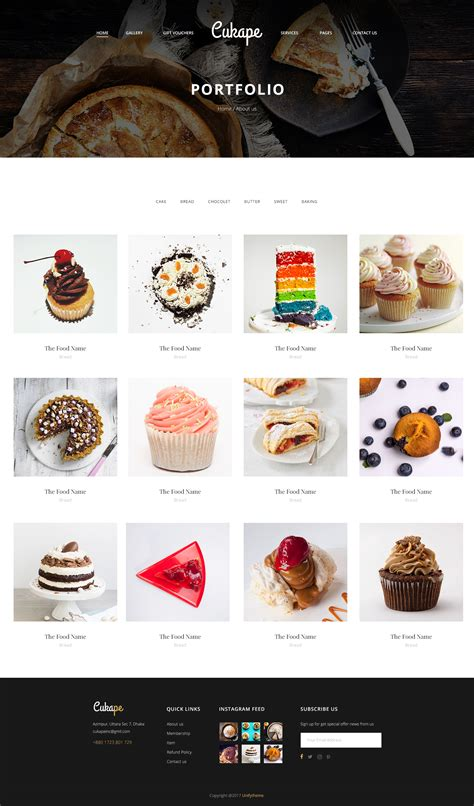 Cukape Cake Shop Bakeries Pastry Psd Template By 360degreee Themeforest Chef Portfolio Template Free