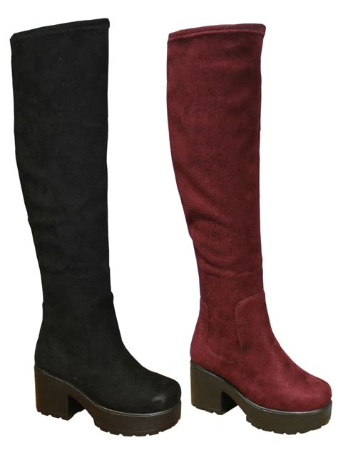 chunky block heel chelsea knee high boots