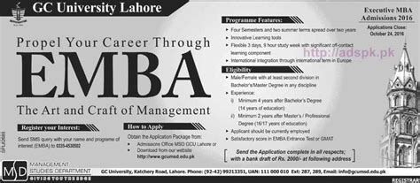 Mba Programs In Lahore Pakistan by New Admissions Open 2016 Gc Lahore For