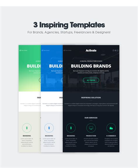Activate Modern Emails Online Template Builder By Activeoo Themeforest Flash Email Templates