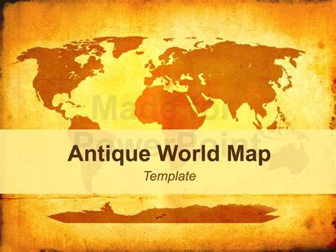 Antique World Map Editable Powerpoint Template Microsoft Powerpoint Templates Vintage