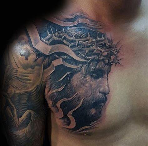 jesus chest tattoo 40 jesus chest designs for chris ink ideas