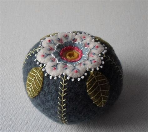 Handmade Pin Cushions - handmade wool dusty blue blossom pin cushion pin