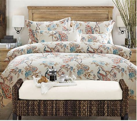 luxury peacock bird print design bedding set egyptian
