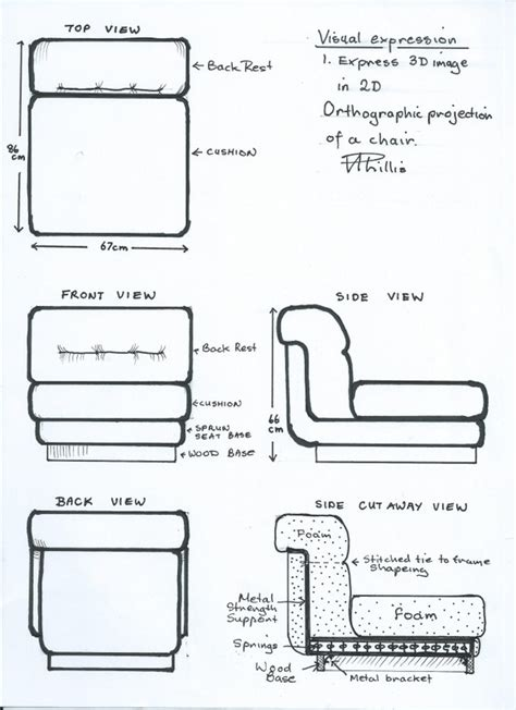 3d Chair Visual Expression 3d Image Of A Chair In 2d Orthographic