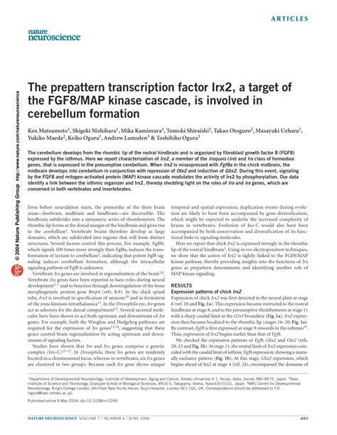 pattern formation in the cerebellum the prepattern transcription factor irx2 pdf download