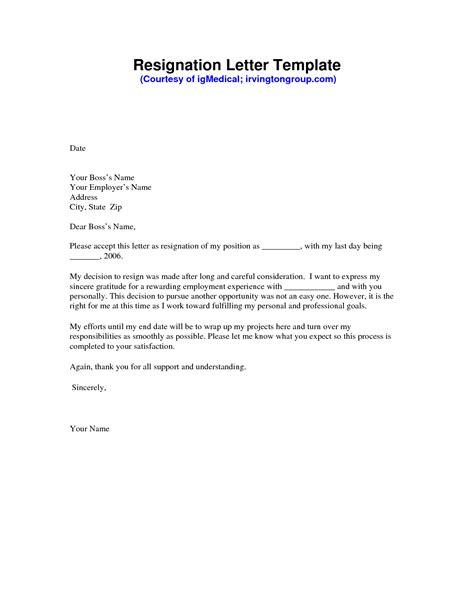 resignation letter sample formal resignation letter