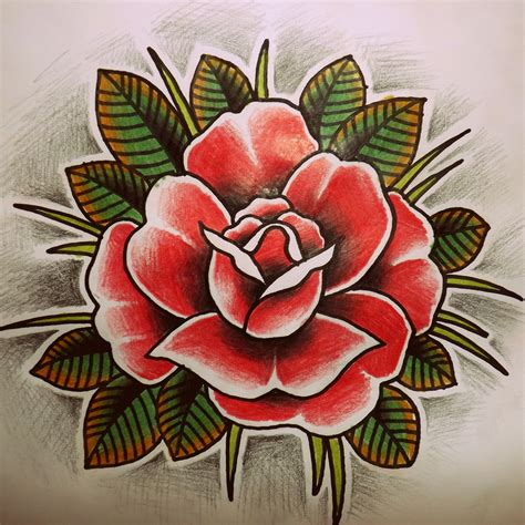 oldschool rose tattoo oldschool sketch drawing drawings