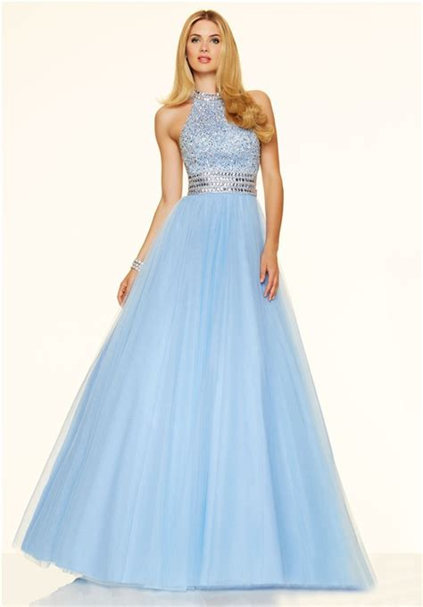 high neck beaded prom dress a line high neck open back light blue tulle beaded