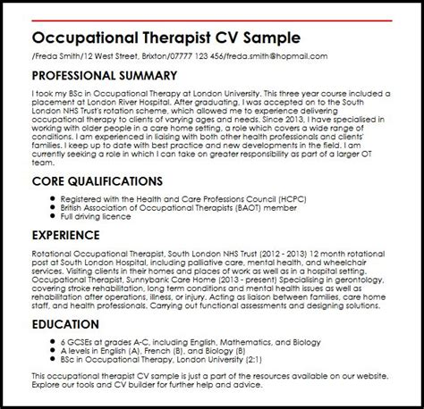 occupational therapist resume template occupational therapist cv sle myperfectcv