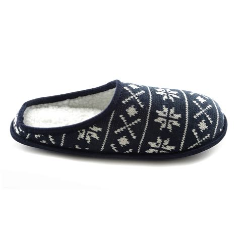 sherpa slippers mens knitted fairisle snowflake pattern sherpa fleece