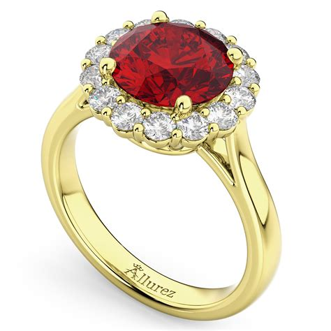 Ruby 5 45 Ct halo ruby engagement ring 14k yellow gold
