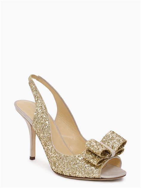 kate spade charm heels in metallic lyst