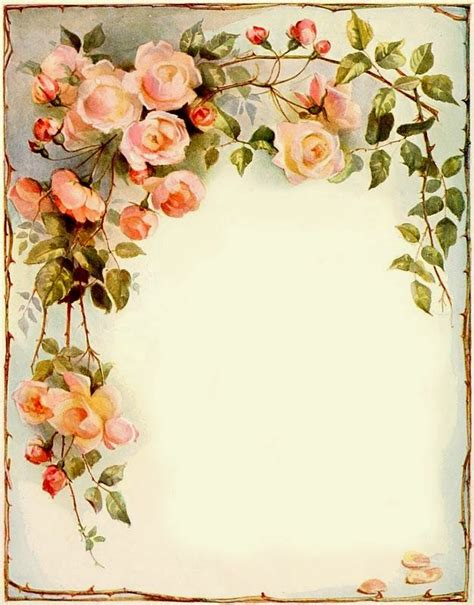 printable stationary with roses 7 best images of free printable vintage flower borders