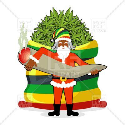 rasta santa claus  big bag  hemp marijuana vector image  people  maryvalery