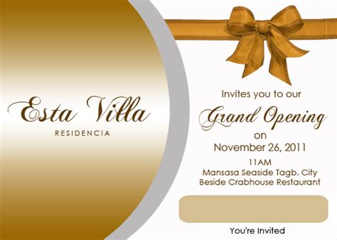 grand opening invitation template steven minds esta villa grand opening invitation card