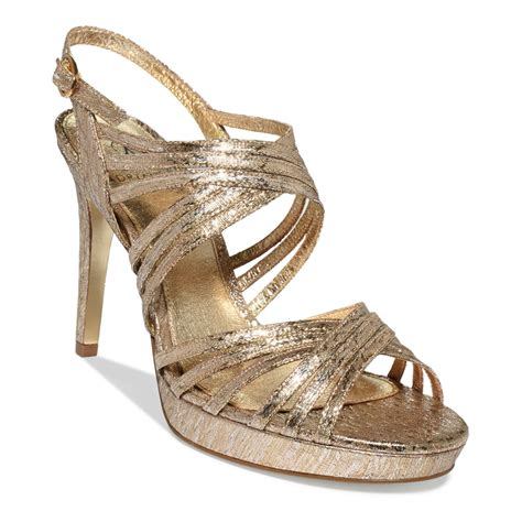 gold evening sandals papell aiden platform evening sandals in gold