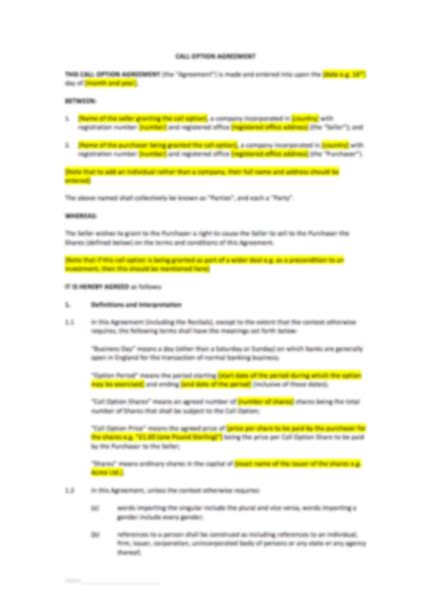 option agreement template call option agreement template uk template agreements