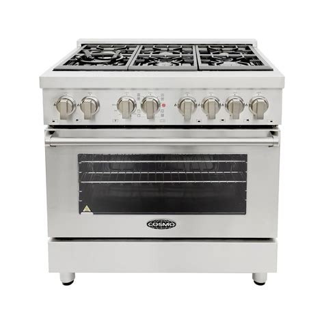 Oven Gas Cosmos cosmo 36 in 4 5 cu ft single oven dual fuel range with