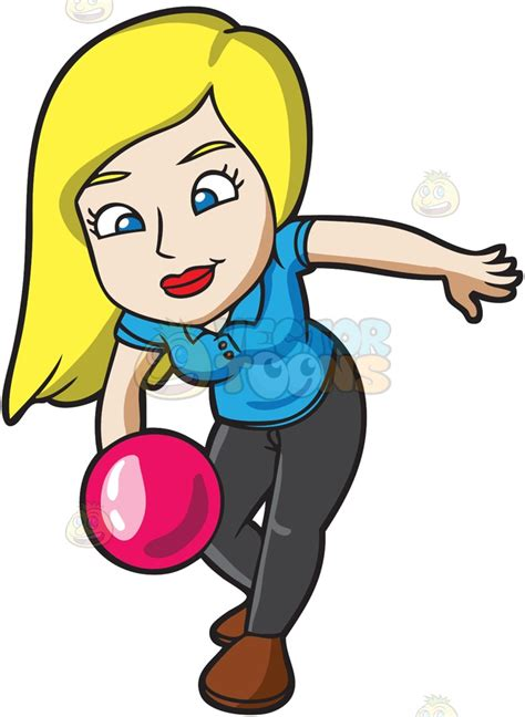 bowling clipart a throwing a pink bowling