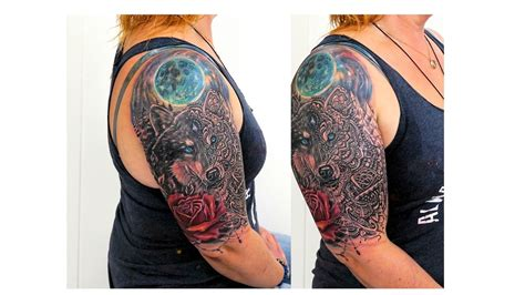 tattoo mandala realistic realistic moon rose wolf mandala tattoo by fluntboy