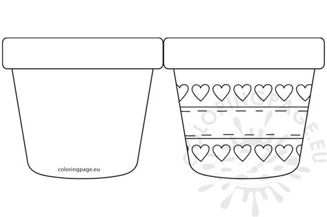 potted flower card templates s day flower pot with hearts template coloring page