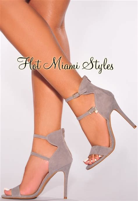 High Grey gray faux suede strappy high heel sandals