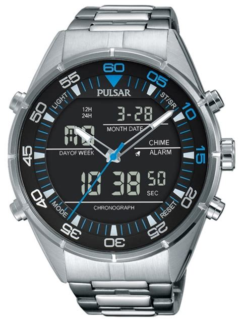 pulsar analog digital with a 45mm stainless steel