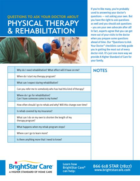 questions to ask about physical therapy brightstar care