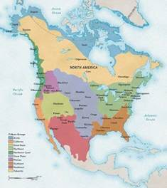 Native American Map Of North America by Major Native American Culture Regions In North America As