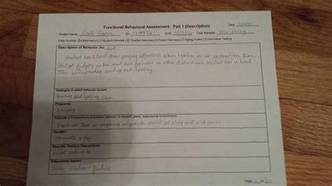 functional behavior assessment exle functional behavioral assessment mrs hinds 4th