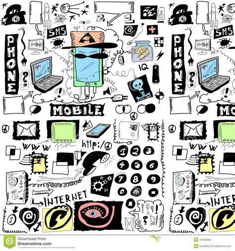doodle mobile concept doodle mobile phones pattern royalty free stock