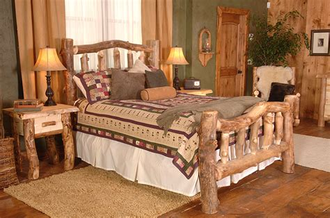 Aspen Log Bedroom Furniture Rustic Furniture Rustic Aspen Log Silver Creek Cali King Bed