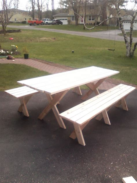 building  picnic table  separate benches  woodworking